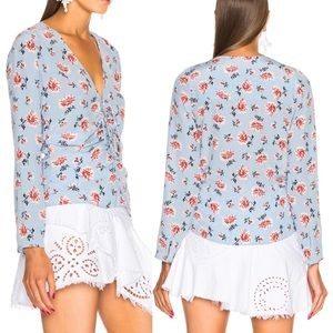 Veronica Beard Silk Maisle Ruched Floral Blouse 10
